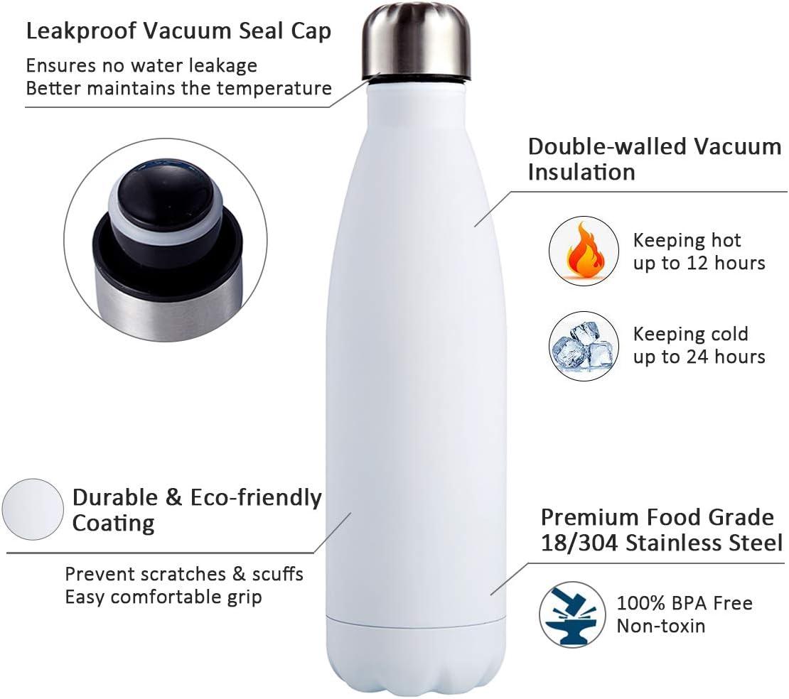 I Kua Fly Botella Agua Acero Inoxidable 500ml sin BPA Doble Pared Aisladas Reutilizable Botella Termica con Pincel Mantiene Bebidas 24h fr/ías y 12h Calientes