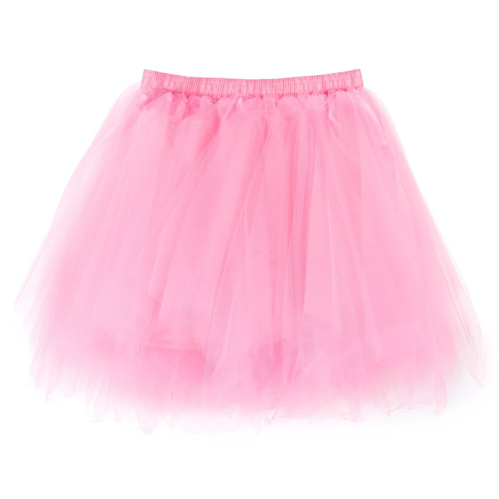 NUWFOR Women's1950s Vintage Ballet Bubble Skirt Tulle Petticoat Puffy Tutu?Pink?One Size?