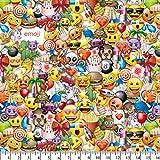 Emoji Fabric By the Yard Emoji Party Cotton Fabric By The Yard