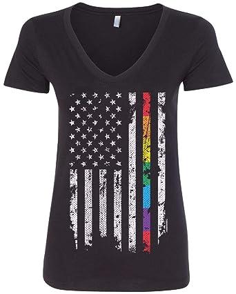 Threadrock Women s Gay Pride Rainbow American Flag V-Neck T-Shirt S Black 00a4849d02