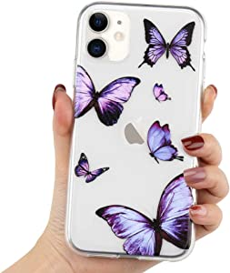 LCHULLE Girly Case for iPhone 11 Case Cute Purple Butterfly Pattern Design Crystal Clear Girls Women Soft TPU Rubber Shockproof Anti-Scratch Protective Case Cover for iPhone 11