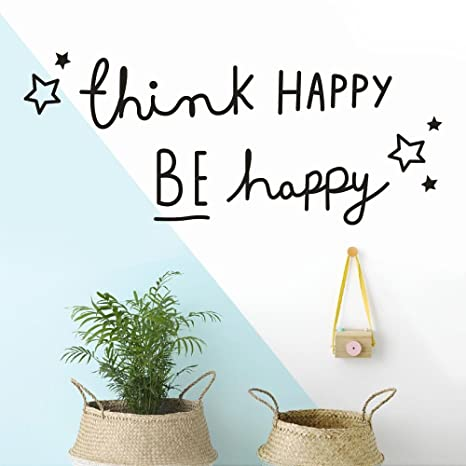 Amazoncom Futemo Letter Wall Stickers Think Happy Be Happy