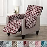 Modern Printed Reversible Stain Resistant Furniture Protector with Geometric Design. Perfect Cover for Pets and Kids. Adjustable Elastic Straps Included. Liliana Collection (Recliner, Oxblood Red)