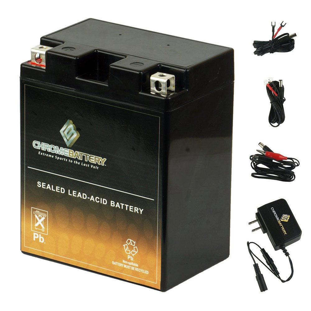 YB14A-A2 Battery with 0.5 Amp Charger - Bundle of 2 items