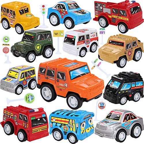 Toy Cars With Road Signs,12 Pieces Pull Back Unique Vehicles Play Set,Mini Cars Including Racing/Emergency/Fire Engine/School Bus/Police/Off Road Cars for Kids Toddlers Over 3 ()