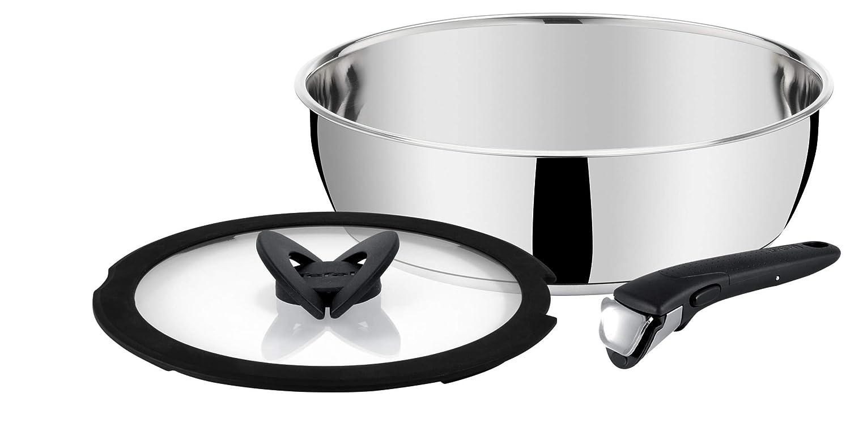 Tefal l942s314 Ingenio Pro acero inoxidable Set de 3 piezas Cazuela de 24 cm + tapa de cristal + mango negra inducción: Amazon.es: Hogar
