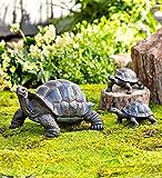 Plow & Hearth 53562 Tortoise Family Resin Outdoor Garden Statues