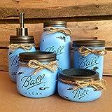 Cheap Rustic Denim Blue Mason Jar Bathroom Set, Mason Jar Desk Set, Mason Jar Vanity Set, Mason Jar Office Decor, Blue Farmhouse Mason Jar Decor