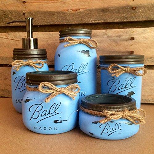 Rustic Denim Blue Mason Jar Bathroom Set  Mason Jar Desk Set  Mason Jar  Vanity. Amazon com  Rustic Denim Blue Mason Jar Bathroom Set  Mason Jar