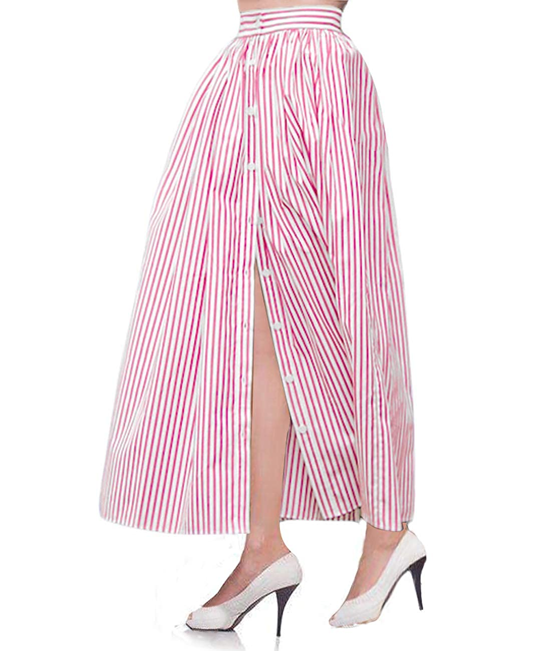 Saloon Girl Costume | Victorian Burlesque Dresses & History Lalagen Womens Striped Front Slit Ankle Length Button Front High Waist Maxi Skirt $22.99 AT vintagedancer.com