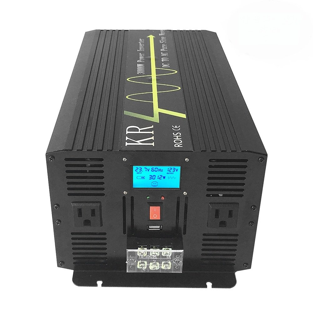 KRXNY 3000W High Compact Pure Sine Wave Inverter 24V DC to 120V AC Power Converter for Home Solar Power System Alumimum Case