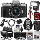 Fujifilm X-T100 Digital Camera & 15-45mm XC OIS PZ Lens (Dark Silver) 64GB Card + Battery + Charger + Tripod + Flash + Backpack + 2 Lens Kit