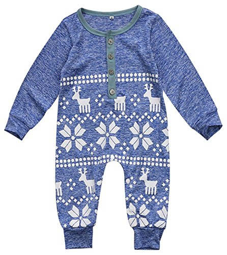 Mini honey Baby Girl Boy Christmas Romper Long Sleeve Bodysuit Snowflake Deer Pajamas Outfit Blue 6-12 Months