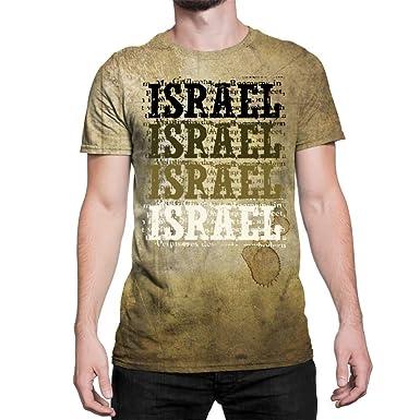 baee076a2 Amazon.com: Idakoos Israel Retro Vintage - 3D Men T-Shirt Polyester ...