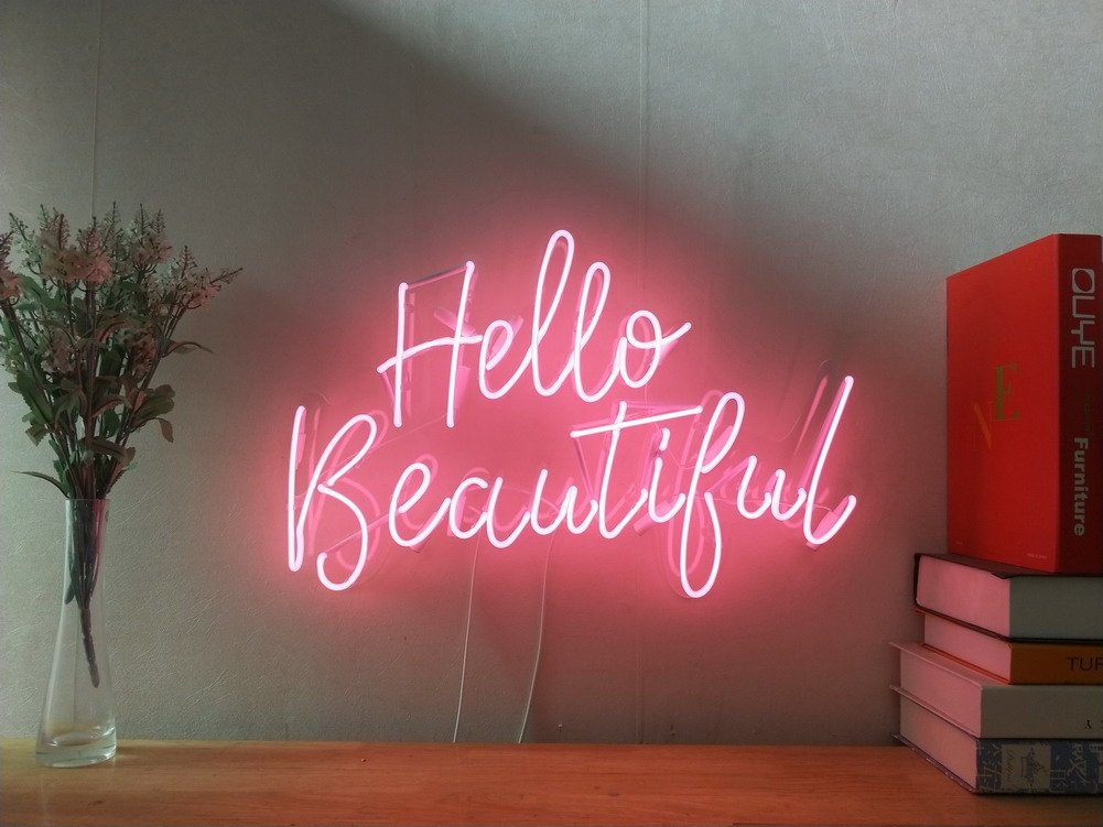 Hello Beautiful Real Glass Neon Sign For Bedroom Garage Bar Man Cave Room Home Decor Handmade Artwork Visual Art Dimmable Wall Lighting Includes Dimmer