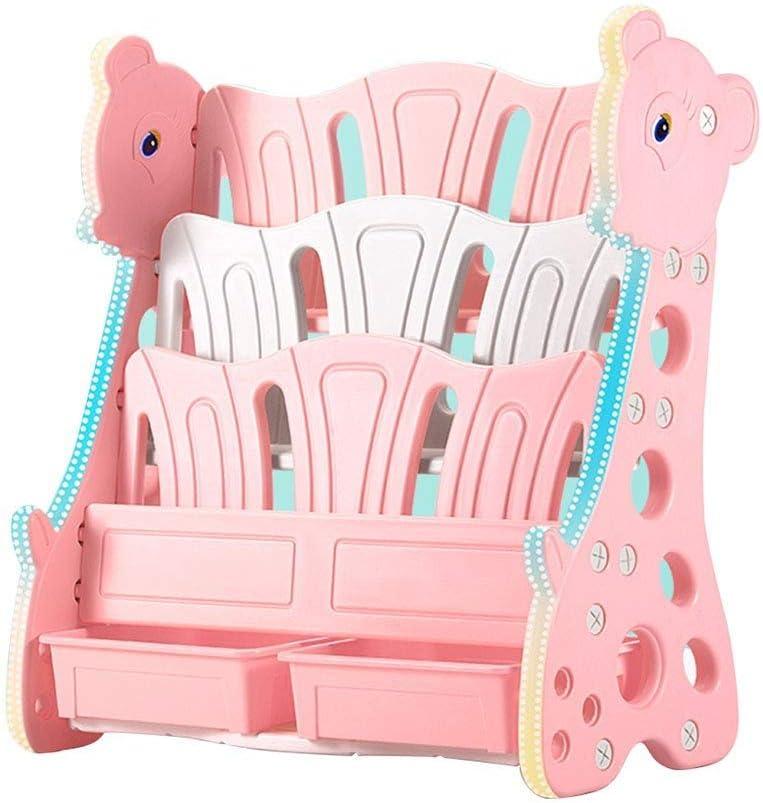 JLL 4層キッズ本棚交通ハンドメイドキッズ本棚愛らしいコーナーブックオーガナイザー(色:ピンク、サイズ:88 * 40 * 80 cm)