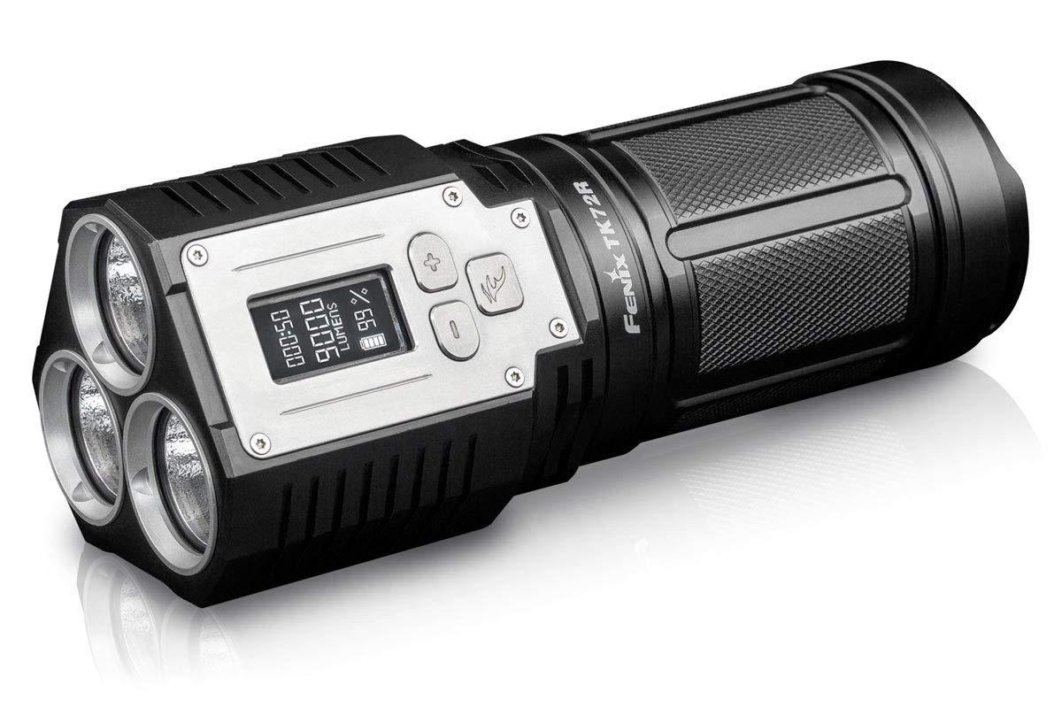 Fenix by Benture TK72R - 9000 Lumen Extrem Helle Taschenlampe mit Solider Verarbeitung und OLED Display, Schwarz