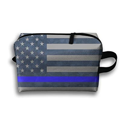 1ddc40cd5f9d Thin Blue Line American Flag Travel Bag Cosmetic Bags Brush Pouch ...