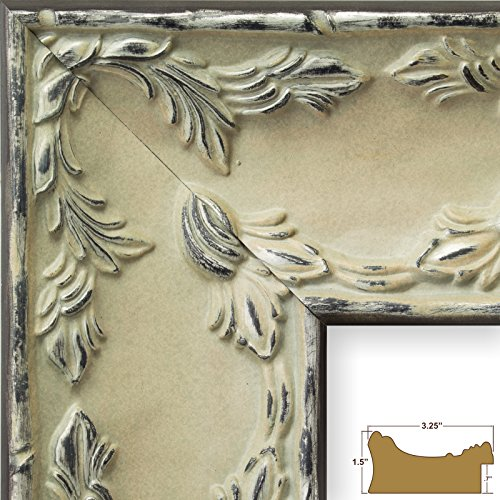 Craig Frames 10726 5 by 7-Inch Picture Frame, Solid Wood Core, Embossed Leaf Finish, 3.25-Inch Wide, Whitewash Pewter