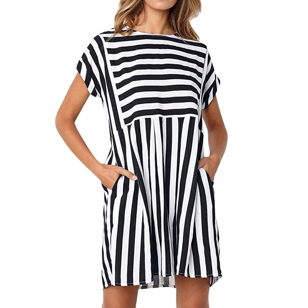 Yxiudeyyr Women's Short Sleeve T-Shirt Dress Mini Loose Plain Round Neck Striped Summer Aline Dress with Pockets Black by Yxiudeyyr