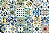 Diy Kitchen Decor GSS Designs 24 PC Pack Art Removable Backsplash Talavera Tile Stickers Bathroom & Kitchen Tile Decals Home Decor 4x4 Inch DIY Wall Sticker Decals