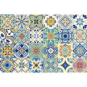 Gss Designs 24 Pc Pack Art Removable Backsplash Talavera Tile Stickers Bathroom Kitchen Tile Decals Home Decor 4x4 Inch Diy Wall Sticker Decals