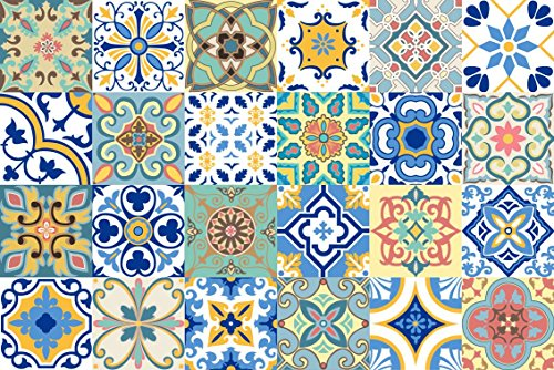 4 In Tile (GSS Designs 24 PC Pack Art Removable Backsplash Talavera Tile Stickers Bathroom & Kitchen Tile Decals Home Decor 4x4 Inch DIY Wall Sticker)
