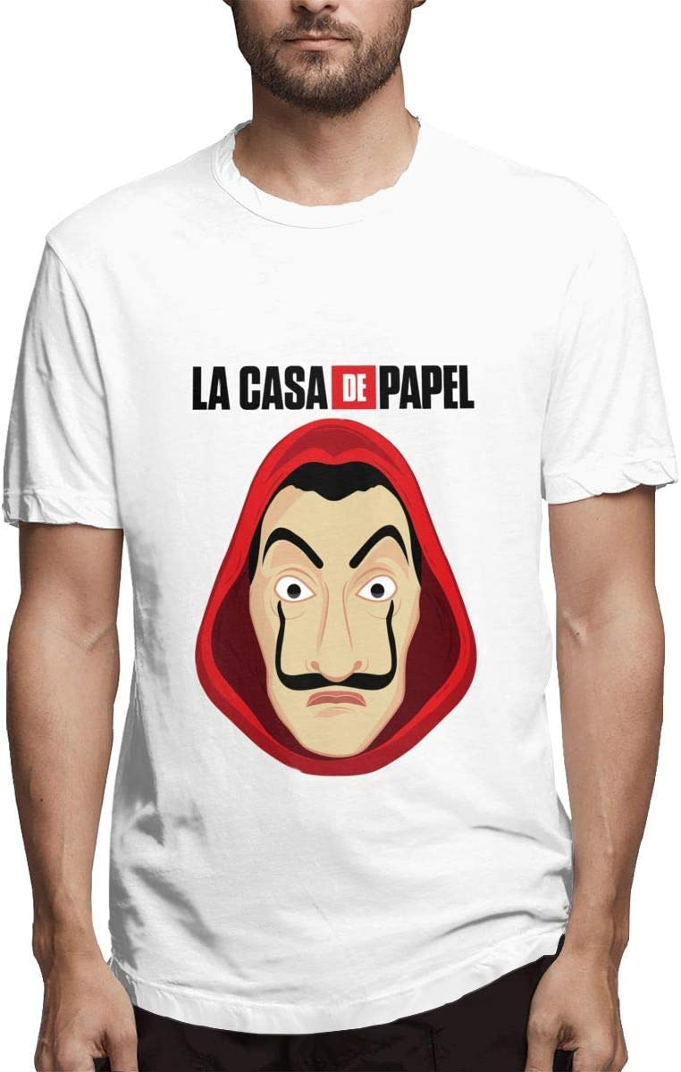 QINSHAONI La-Casa-de-Papel Teenagers Boy Retro Fashion Printed Letters Cartoon Pattern Comfortable Light T-Shirt Tee 3XL