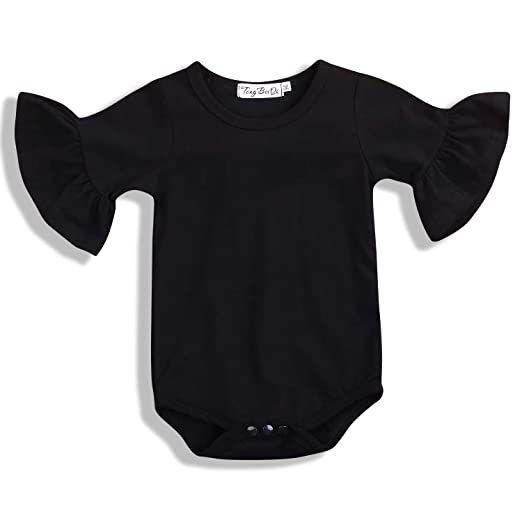 f3f4185e6533 SWNONE Infant Baby Girl Basic Bell Short Sleeve Cotton Romper Bodysuit Tops  Clothes (Black