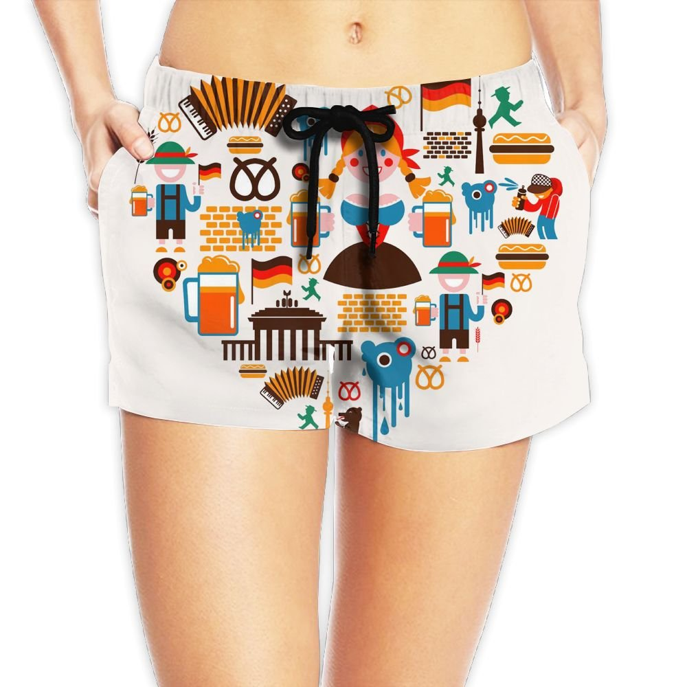 Travel to Germany Women Fashion Sexy Quick Dry Lightweight Hot Pants Waist Beach Shorts Swimming Trunks