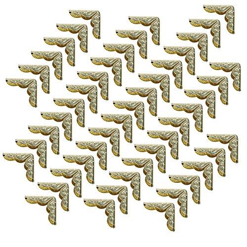 Cosmos ® 50 PCS Gold Metal Book Corner Protector for Scrapbooking Album Menu Folder