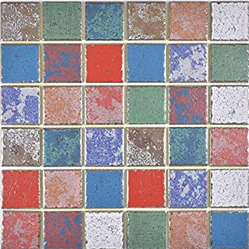 Carrelage mosaïque en céramique multicolore, rétro, rétro ...