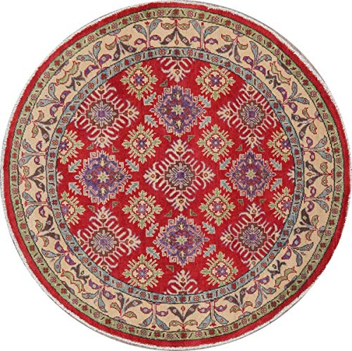 Red Floral 5 Ft Round Super Kazak Oriental Area Rug Hand-Knotted Wool Carpet New