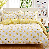 KTLRR 100% Cotton Fresh Yellow Lemons Bedding Set, Twin/Full/Queen/King Size, Lemon Printed Duvet Cover Set Bedsheet & Pillowcase &Duvet Cover (Queen#1, Yellow)