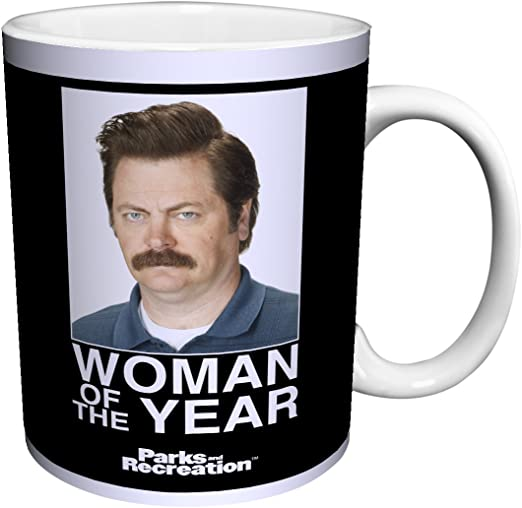 Parks and Recreation Ron Swanson Woman of the Year Workplace Comedy TV Television Show Ceramic Gift Coffee (Tea, Cocoa) 11 Oz. Mug by Culturenik