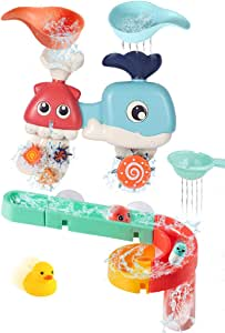 Bessentials Baby Bath Toys Assemble Set - DIY Wall Suction Tracks Waterfall Spinning Gear Bathtub Toys Gift for Toddlers Boys Girls 3-6 Years Old