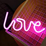 ENUOLI Pink Love Shaped Night Lights LED Neon Signs USB or Battery Operated Night Lights Lamps Art Decor Wall Decoration…