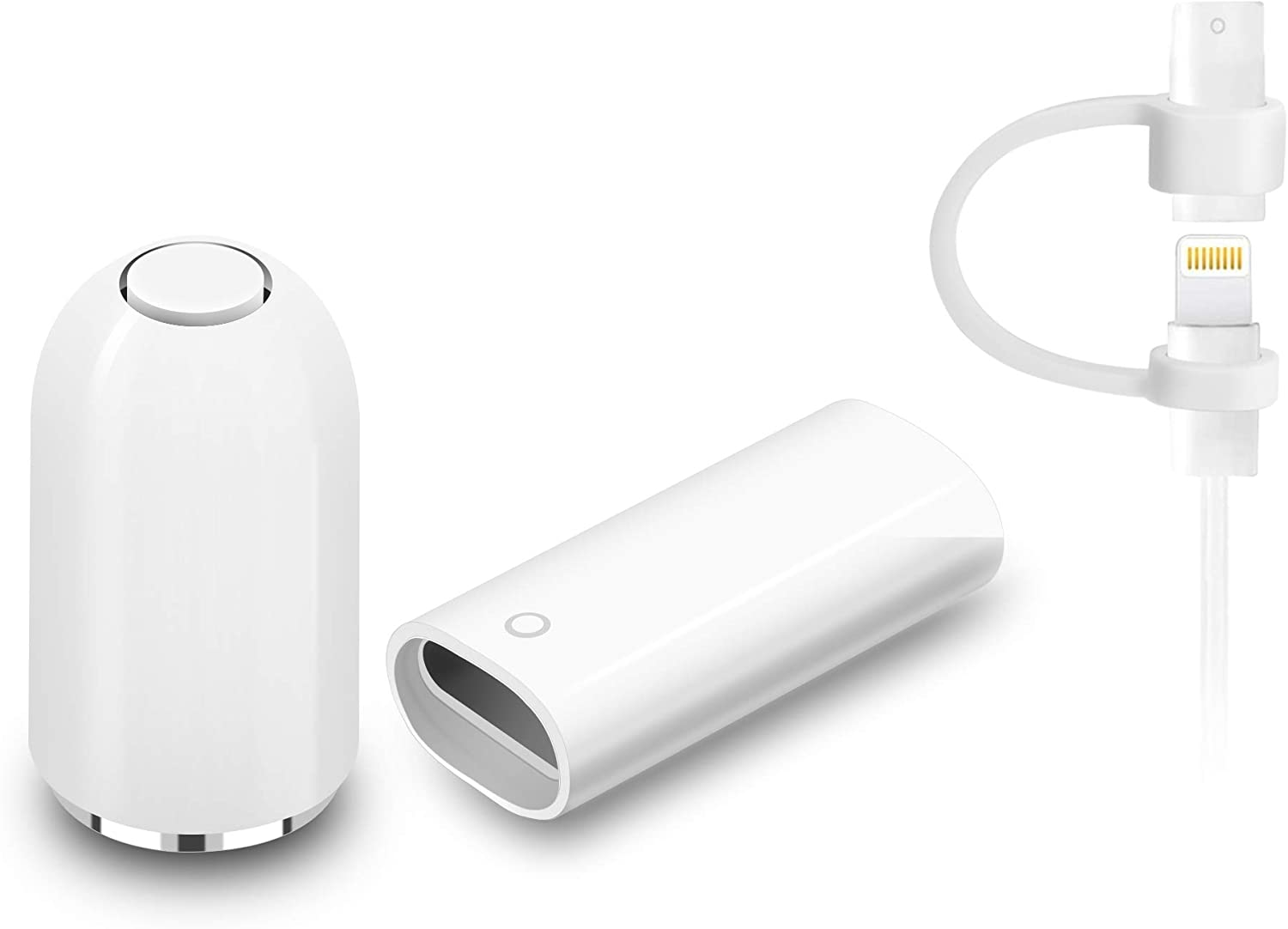 Magnetic Replacement Caps for Apple Pencil 1st Generation - with Charging Adapter (Female to Female Connector) and a Silicone Cable Adapter Tether Stylus Protective Cover Caps for iPad Pencil (White)