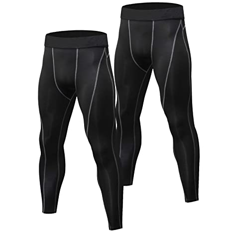 1a1eeee5992b6 Amazon.com   Niksa 2 Pack Men s Compression Pants Cool Dry Gym ...
