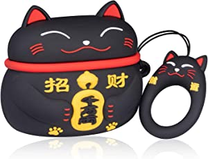 Lupct Black Lucky Cat Compatible with Airpods Pro/Airpods 3 Case Silicone,Cute Cartoon 3D Cool Air pods Design Cover,Fun Fashion Funny Cases for Kids Girls Teens Style Character Skin Keychain Airpod 3