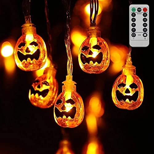 Scorpiuse Halloween Decorations USB Pumpkin String Lights 15ft 30 LEDs Jack-O-Lantern Pumpkin Lights with Remote Control 8 Lighting Modes IP65 Waterproof Outdoor Party Holiday Decoration