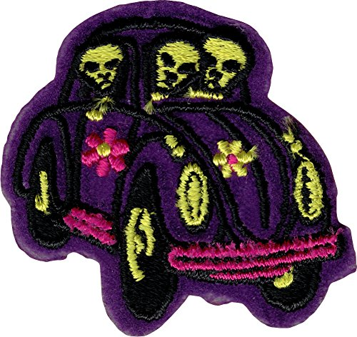 Aliens in Purple Bug Car - Embroidered Iron On or Sew On Patch