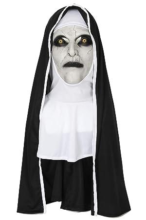 SDT Máscara Halloween con Velo Valak The Nun Cosplay Monja Mask Diablo para Hombres Mujeres en