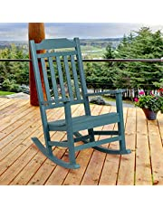 Flash Furniture Winston All-Weather Rocking Chair in Teal Faux Wood