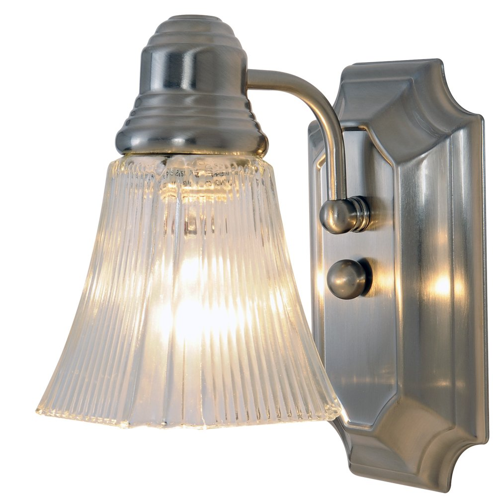 Monument 617093 Decorative Bathroom Wall Sconce, Brushed Nickel, 5-1 2 In.