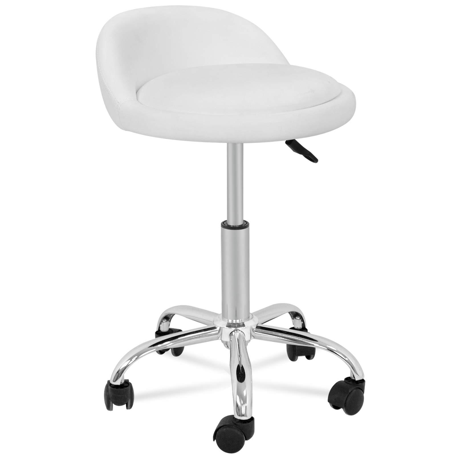 HomGarden Adjustable Hydraulic Rolling Swivel Stool for Massage Salon Office Facial Spa Medical Tattoo Chair Stool w/Backrest Cushion & Wheels (White 1pcs)