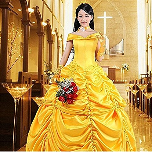 HalloweenCostumeParty Beauty and Beast Belle Costume Dress For Adults Woman (L) by HalloweenCostumeParty (Image #3)