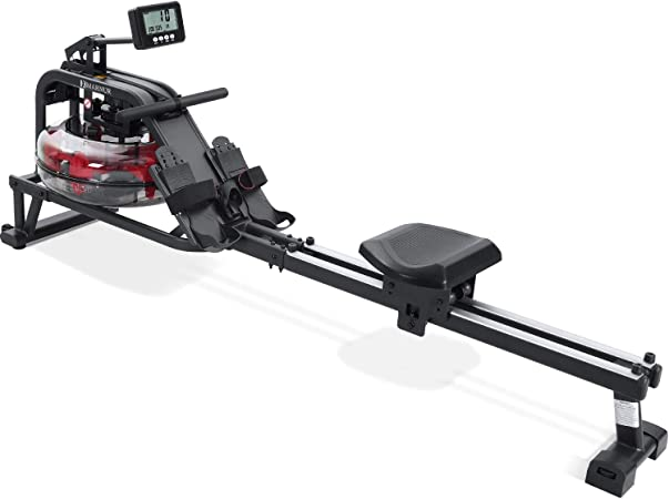 MARNUR Water Rowing Machine for Home Portable Double Track Water Resistance Rower with Large Multifunctional LCD Monitor & Wide Seat Cushion for Men and Women