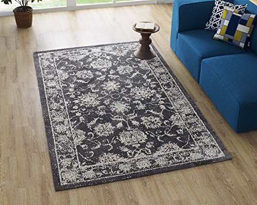 Modway Kazia Floral Lattice 5x8 Area Rug In Dark Gray and Ivory