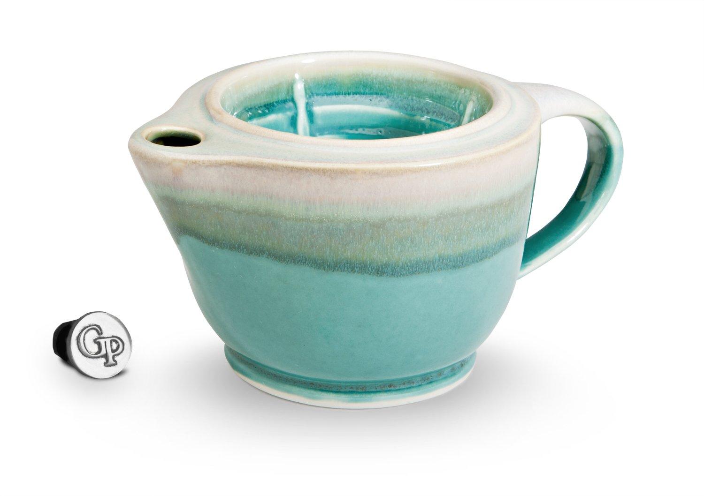 Georgetown Pottery G20 Shaving Scuttle Mug - Green Oribe - 20 Ounce Reservoir - Hand Made in USA